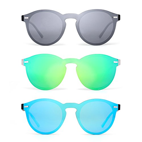 - JIM HALO Rimless Polarized Sunglasses for Women Men Round One Piece Mirror Lens 3 Pack Silver & Green & Blue