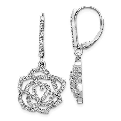 14K White Gold Diamond Fancy Flower Leverback Earrings - Leverback Diamond Flower Earrings
