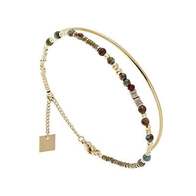 Bracelet double jonc et perles (bleu/doré), Zag Bijoux