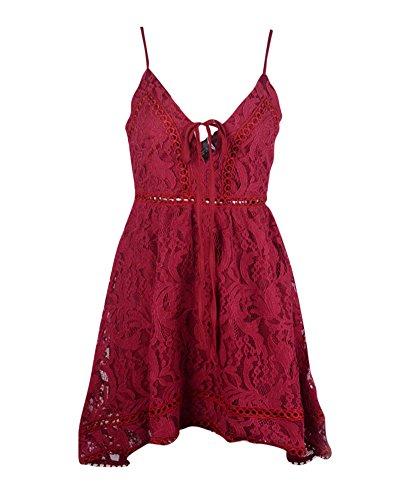 Soire Rouge Sans Plage Crochet Halterneck Femme Dentelle Manches Quge Backless Robe Dress 17Zxq