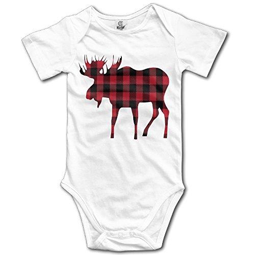 Buffalo Plaid Moose Lumberjack Red Black Boys Baby Onesies Romper