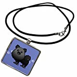 3dRose Janna Salak Designs Dogs - Cute Black Pomeranian Blue with Paw Prints - Necklace With Rectangle Pendant (ncl_10829_1)
