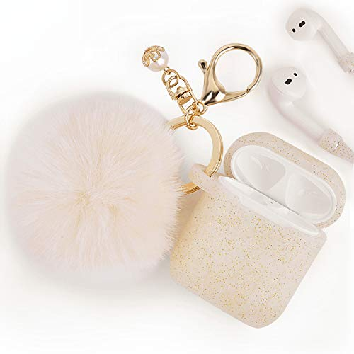 Airpods Case - Filoto Airpods Silicone Cute Glittery Case Cover with Keychain/Strap for Apple Airpod (Gold)