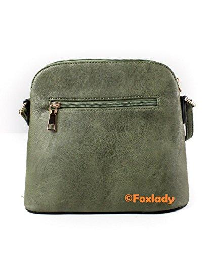 Crossbody Foxlady Olive Zip Women's Handbag Sling Leather Mini Faux Snakeskin Trendy Tassel ZzAZr