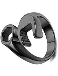 Flongo Punk Rock Stainless Steel Mens Mechanic Wrench Tool Ring for Biker,Black Color