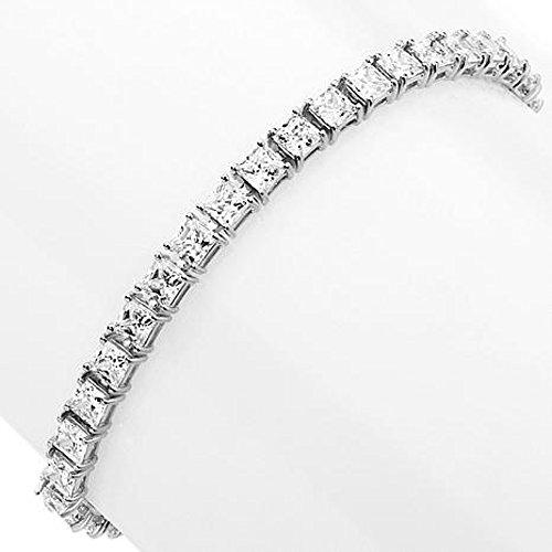 Princess Cut Line Bracelet - 3djewels 4mm Princess-Cut D/VVS1 Diamond 14K White Gold Plated Line Bracelet