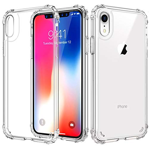 iPhone XR Case 6.1 Inch,Ultra-Thin Transparent Crystal Silicone Bumper PC Back Scratchproof Shockproof Protection Slim Clear Soft Four Corners Anti-Fall Cover,Support Wireless Charger,Crystal