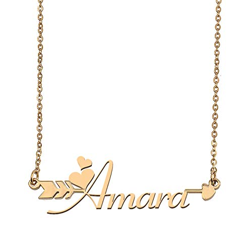 - Aoloshow Customized Custom Name Necklace Personalized - Custom Amara Initial Name Arrow Horizontal Monogrammed Necklace Gift Womens Girls