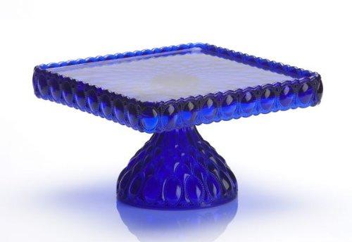 - Mosser Glass Elizabeth Square Cake Plate Stand in Cobalt Blue