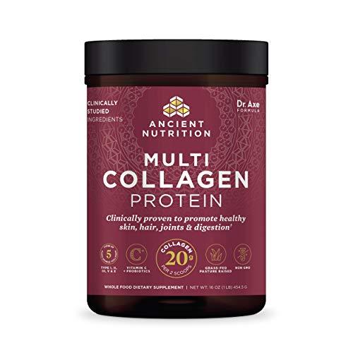 Collagen Powder Protein with Probiotics by Ancient Nutrition, Unflavored Multi Collagen Protein with Vitamin C, 45…