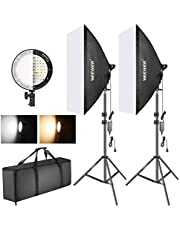 Neewer Kit Softbox Eclairage LED Bi-Couleur Réglable: 50x68cm Softbox, Lampe LED 45W à 2 Températures de Couleur et Pied pour Photo Studio Portrait Vidéo