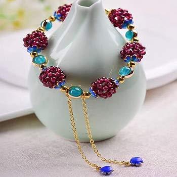 Natural Garnet Weaving Bead Bracelets | with Blue Bead Accessories Fashion Bracelet | for Men (Blue Chalcedony)