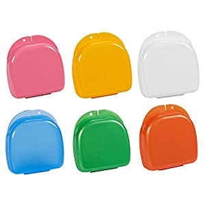Juvale Orthodontic Container Case for Retainer Mouthguard Dentures (6 Pack) 6 Colors 7