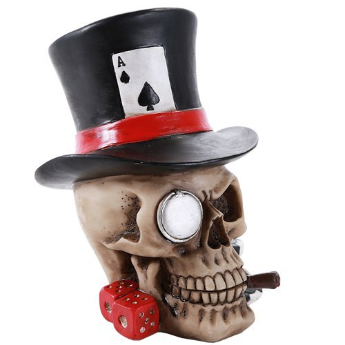 Poker Figurine - Poker Skull Ace Spades Top Hat Casino Dice Poker Game Skull Gambler Figurine Gift