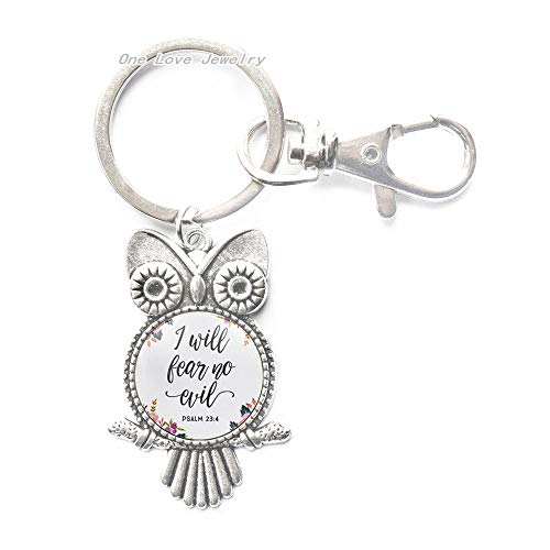 I Will Fear No Evil Psalm 23 4 Owl Keychain Flower Calligraphy Bible Quote Inspired Jewelry Spiritual Key Ring Inspirational Jewelry,TAP085