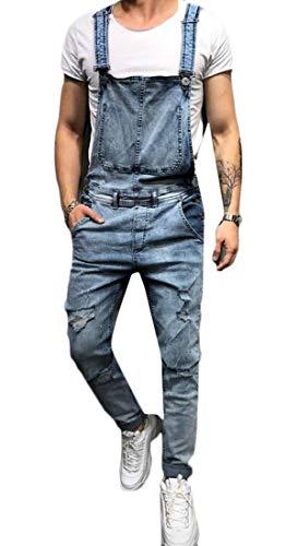 [해외]JYZJ 남성의 청바지 찢어진 데님 큰 평상복 죄수 복 롬 퍼스 조절 스트랩 / JYZJ Men`s Jeans Ripped Denim Big Overalls Jumpsuit Romper Adjustable Strap