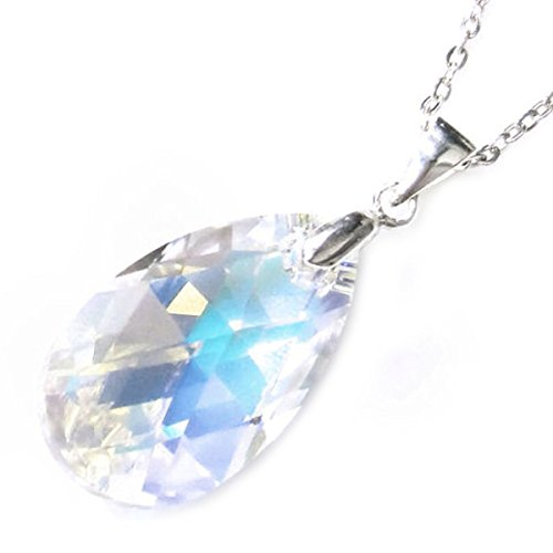Queenberry Sterling Silver Swarovski Elements Aurora Borealis Teardrop Pendant Necklace, 16