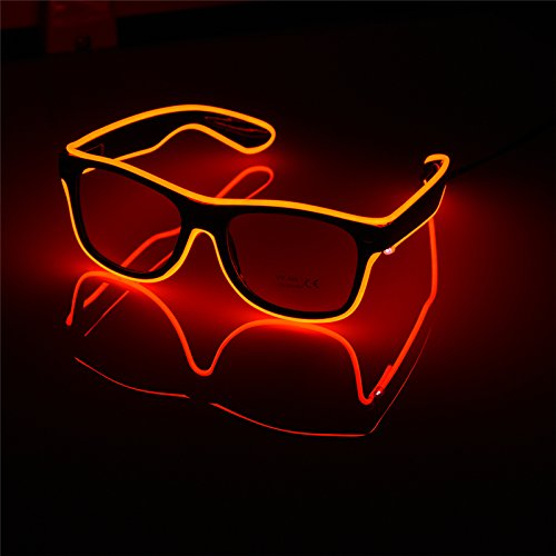 Glow Glasses Light Up El Wire Glowing Dance Party Rave Glow-in-The Dark LED Sunglasses