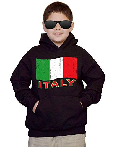 Interstate Apparel Youth Italy Flag Black Kids Sweatshirt Hoodie Large