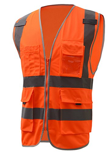 Panegy Multi Pockets High Visibility with Reflective Tape Zipper Front Safety Vest Hi-Vis Orange M (Horizontal Reflective Tape)