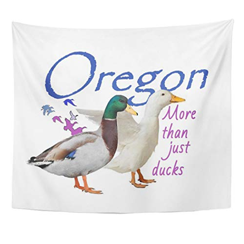 Semtomn Tapestry Artwork Wall Hanging Ducks Oregon Portland Salem Trail Mount Hood Beaver State 50x60 Inches Home Decor Tapestries Mattress Tablecloth Curtain Print