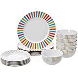 AmazonBasics 18-Piece Kitchen Dinnerware Set, Dishes, Bowls, Service for 6, Sunburst