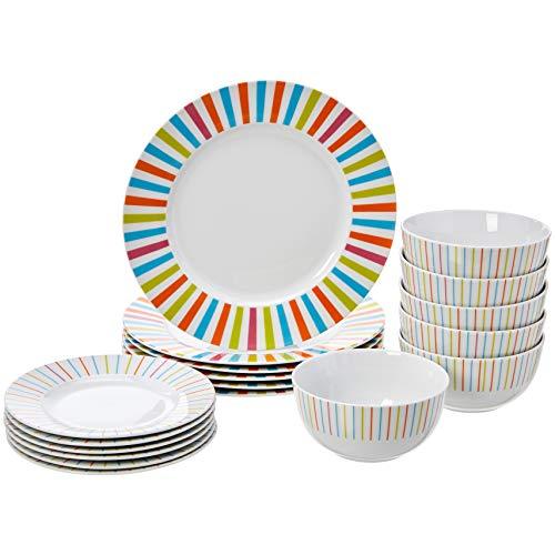 AmazonBasics 18-Piece Dinnerware Set Sunburst, Service for 6 Only $20.99