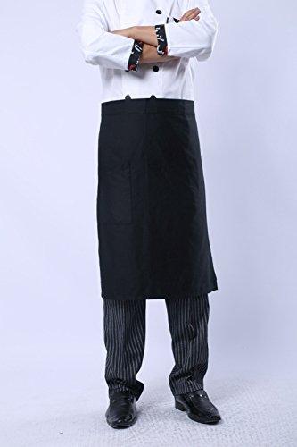 Kitchen Bib Aprons Man Cotton Polyester Commercial Restaurant Waiter Waitress Server Barista Waist Half Waist Apron, 1 Pocket (Black)