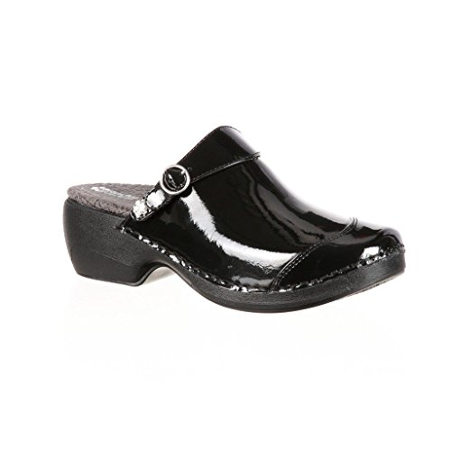 Clog Patent Black Leather 4EurSole Women's RKH048 wvH8vSq