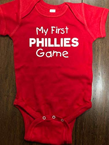 uk availability 7b4d9 53ed8 My first Phillies game baby onesie Philadelphia ... - Amazon.com