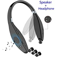 Bluetooth Headphone Speaker, SUPERSUN V4.1 Ultra Portable Foldable Bluetooth Headset with Built-in Wireless Speaker, Mic and Retractable Earbuds, Handsfree Noise Cancelling Calling (Grey)