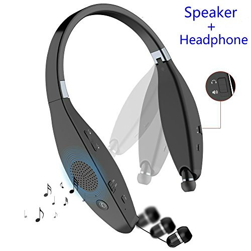 Bluetooth Headphone Speaker, SUPERSUN V4.1 Ultra Portable Foldable Bluetooth Headset with Built-in Wireless Speaker, Mic and Retractable Earbuds, Handsfree Noise Cancelling Calling (Black)