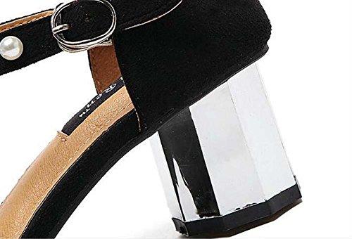 casual Punto da Ankel sera Calzature alti della il Cinturino corte Semplice quadrato Formato Pompe Pearl Eu 35 da piede strato Moda Signora Fibbia cintura 2 Scarpe in Aprire black 39 Scarpe Sandali Tacchi pBxSq7