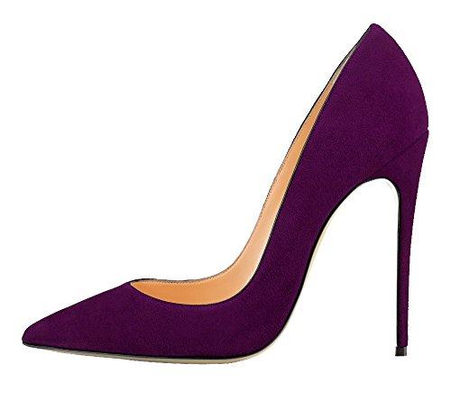 Guoar Dames Stiletto Big Size Schoenen Spitse Teen Patent Dames Stevige Pumps Voor Werk Plaats Jurk Partij C-violet-suède