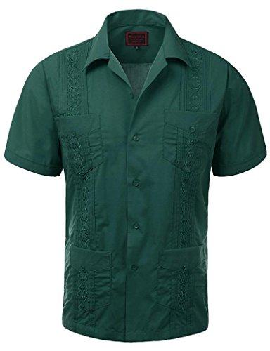 vkwear Guayabera Men's Cuban Beach Wedding Short Sleeve Button-up Casual Dress Shirt (4X-Large, Dark Green)