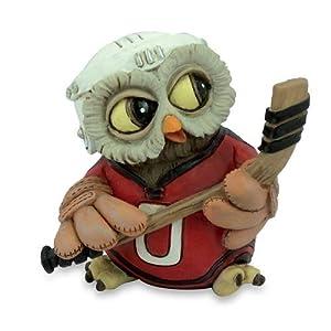 Funny Gufi - Eishockey-Eule mit Trikot, Helm und Eishockeyschläger