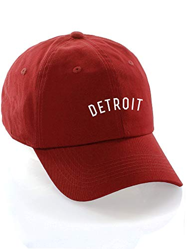 Daxton USA Cities Baseball Dad Hat Cap Cotton Unstructure Low Profile Strapback - Detroit Red White