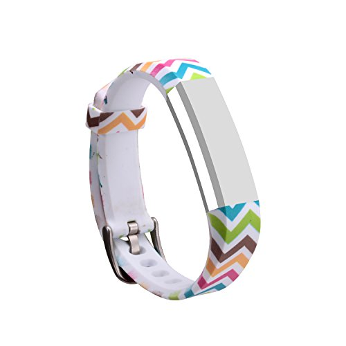 I-SMILE Newest Replacement Wristband With Secure Clasps for Fitbit Alta Only(No tracker, Replacement Bands Only) (Rainbow waves)