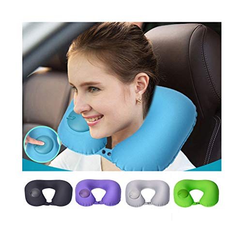 AOmahh Inflatable Neck Pillow Travel Adjustable Comfortable Soft Neck Travel Pillows for Airplanes Camping Air Cushion Ultralight Protable Car Head Neck Rest Pillow ()