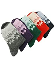 Marrywindix 5 Pairs Thick Snowflake Maple Leaf Socks Wool Sock