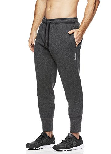 Reebok Men's Core Jogger With Cuff - Poly/Cotton, Dark shade Charcoal, Small