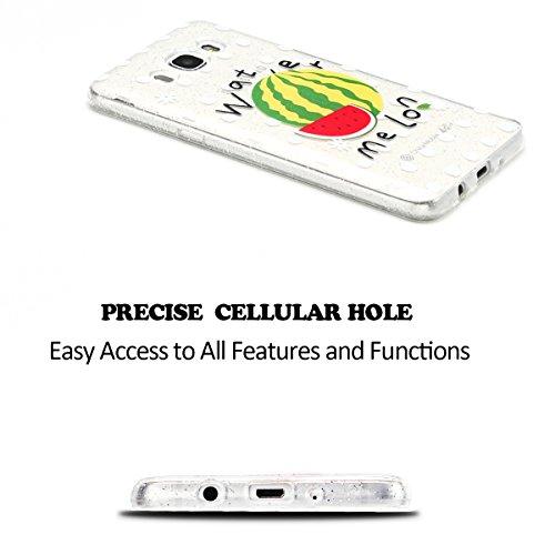 Funda para Samsung Galaxy J7 2016 5.5 Suave Transparente Delgado Gel Silicona TPU Case para Galaxy J7 2016 SM-J710F E-Lush Cristal Blanda Protectora Cover Caja [Flash point] Claro Flexible Absorción  Sandía