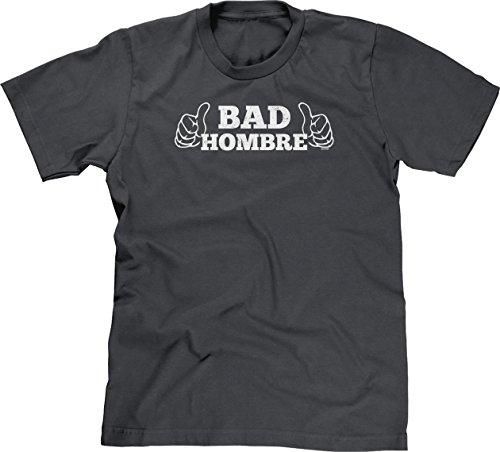 Blittzen Mens Bad Hombre Thumbs Pointing Toward Self, 2XL, Charcoal -