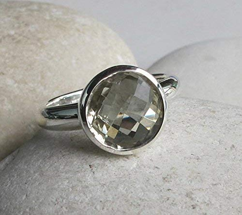 Light Green Amethyst Solitaire Round Ring