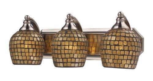Elk 570-3N-GLD 3-Light Vanity In Satin Nickel and Gold Mosaic Glass by Elk