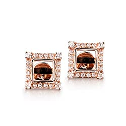 Women's Rose Gold Diamond Semi Mount Earrings