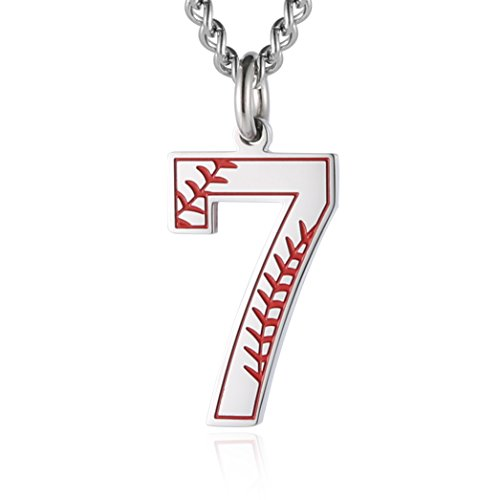 Sports Number Necklace (HZMAN Baseball Initial Pendant Necklace Inspiration Baseball Jersey Number 0-9 Charms Stainless Steel Necklace (7 -)