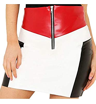 Pandapang Women Faux Leather Zipper Slim Contrast Color Mini Bodycon Skirts
