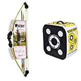 Bear Archery Scout Bow Set Flo Green Bundled with Black Hole - 4 Sided Archery Target - Stops All Fieldtips and Broadheads