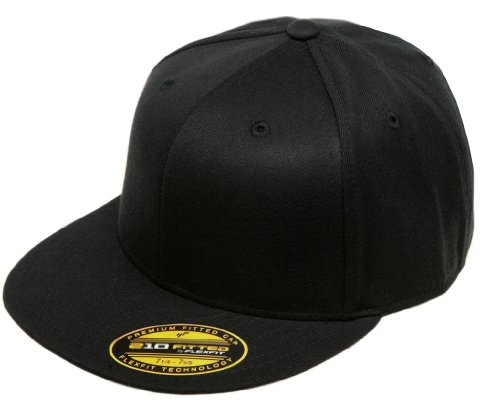 Fitted Flat Brim Cap - Flexfit/Yupoong Unisex-Adult's Flexfit 210 Fitted Flat Bill, Black, Large/Extra Large